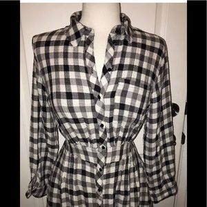 NWT Zara Black & White checked Plaid Dress Large
